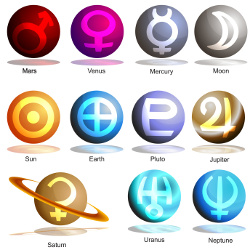 An image of a 3D planets with symbols.