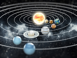 Solar system with eight planets.